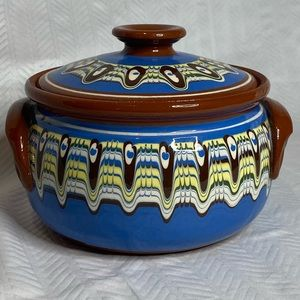 """Terracota glazed painted pot with lid, 6"""" diameter"""